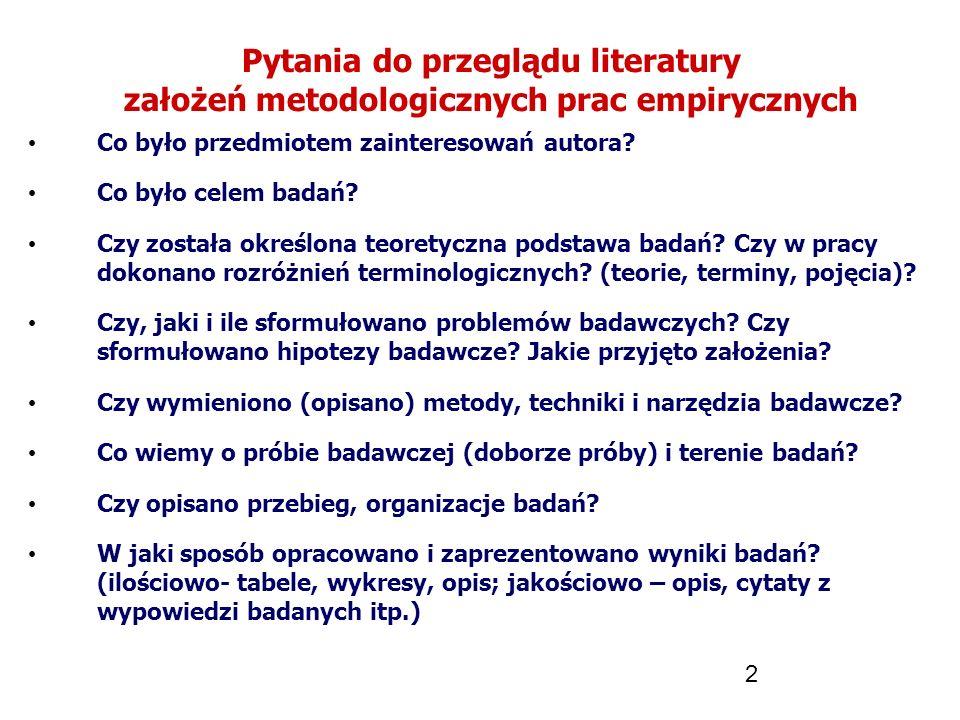 2 Pytania do przeglądu literatury założeń metodologicznych prac empirycznych Co było przedmiotem zainteresowań autora? Co było celem badań? Czy został