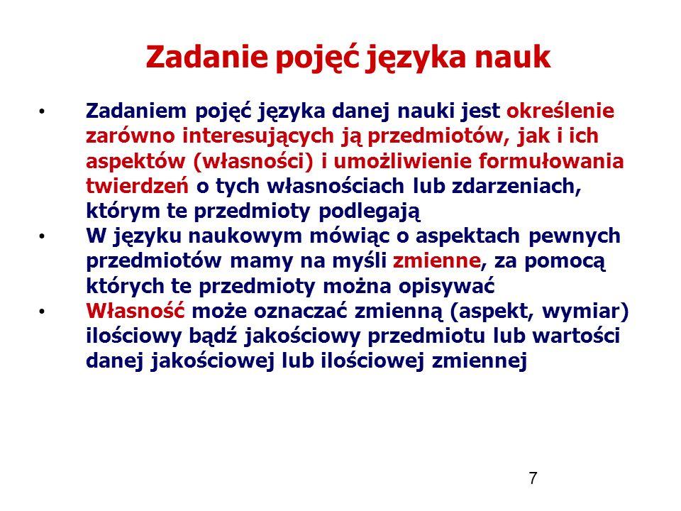 7 Zadanie pojęć języka nauk Zadaniem pojęć języka danej nauki jest określenie zarówno interesujących ją przedmiotów, jak i ich aspektów (własności) i