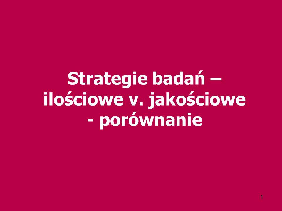 1 Strategie badań – ilościowe v. jakościowe - porównanie
