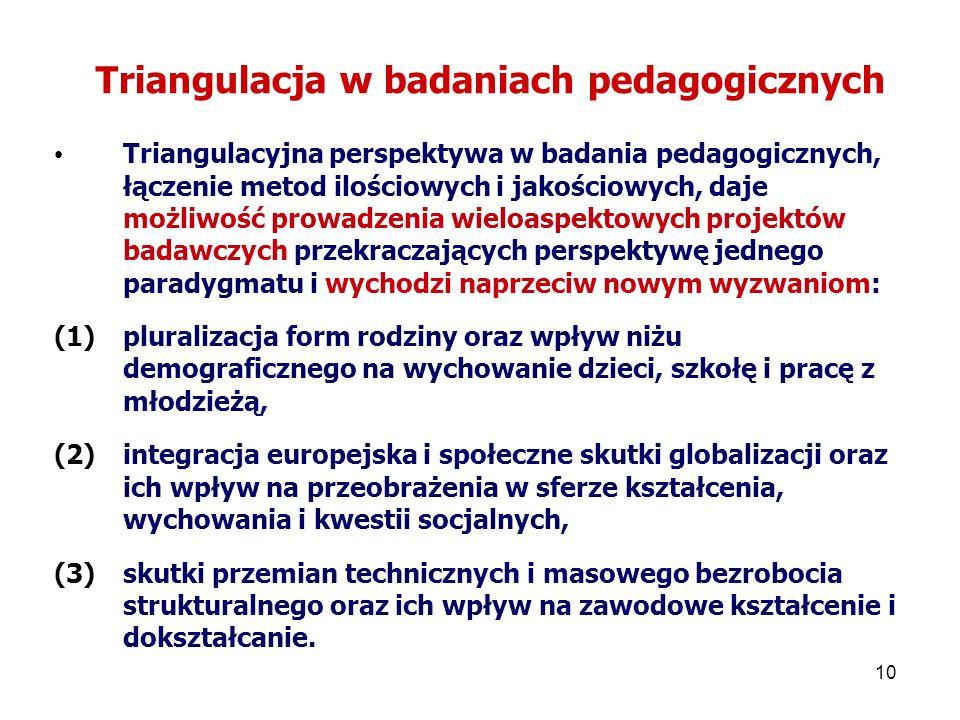 10 Triangulacja w badaniach pedagogicznych Triangulacyjna perspektywa w badania pedagogicznych, łączenie metod ilościowych i jakościowych, daje możliwość prowadzenia wieloaspektowych projektów badawczych przekraczających perspektywę jednego paradygmatu i wychodzi naprzeciw nowym wyzwaniom: (1)pluralizacja form rodziny oraz wpływ niżu demograficznego na wychowanie dzieci, szkołę i pracę z młodzieżą, (2)integracja europejska i społeczne skutki globalizacji oraz ich wpływ na przeobrażenia w sferze kształcenia, wychowania i kwestii socjalnych, (3)skutki przemian technicznych i masowego bezrobocia strukturalnego oraz ich wpływ na zawodowe kształcenie i dokształcanie.