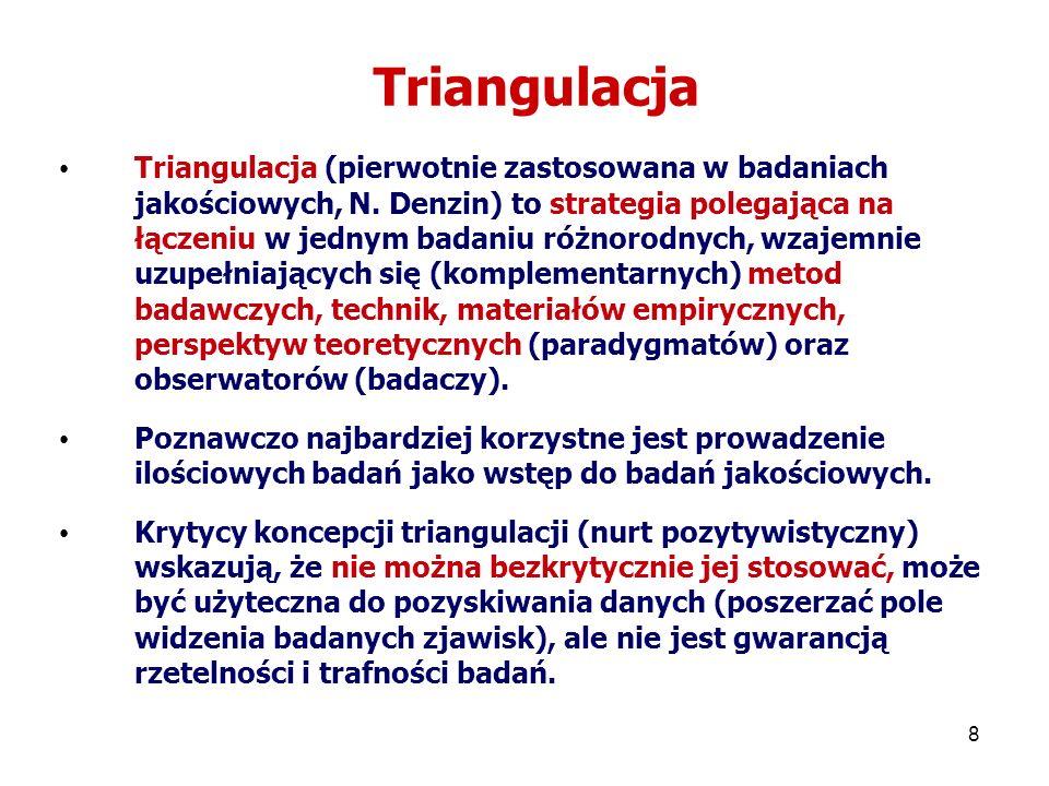 9 Typy triangulacji Typy triangulacji (Norman Denzin) (1)Triangulacja źródeł – polega na wykorzystaniu i porównywaniu danych pochodzących od różnych osób, z różnych miejsc i z różnego czasu.