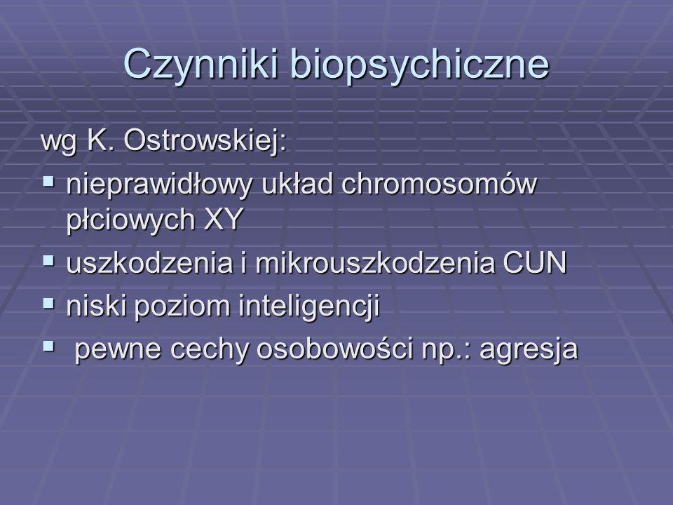 Czynniki biopsychiczne wg K. Ostrowskiej: nieprawidłowy układ chromosomów płciowych XY nieprawidłowy układ chromosomów płciowych XY uszkodzenia i mikr