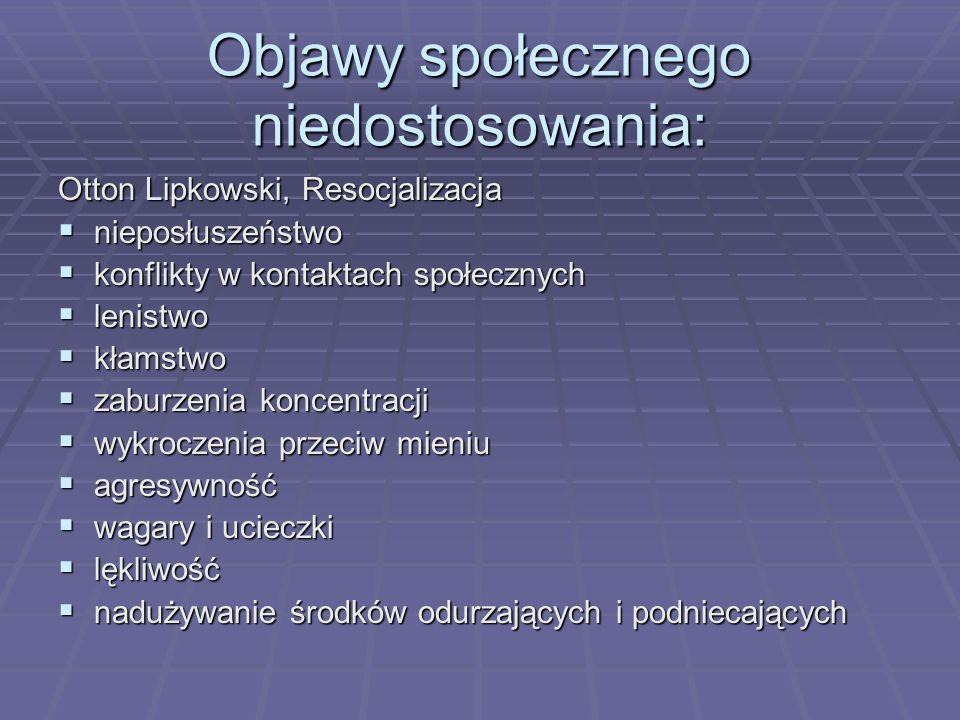 Objawy społecznego niedostosowania: Otton Lipkowski, Resocjalizacja nieposłuszeństwo nieposłuszeństwo konflikty w kontaktach społecznych konflikty w k