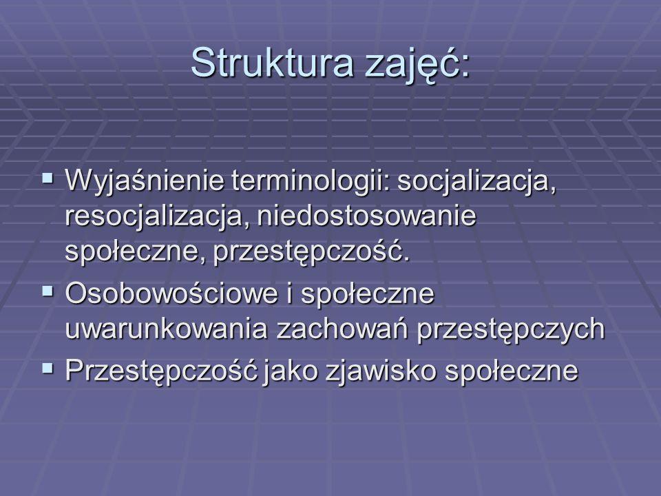 Struktura zajęć: Wyjaśnienie terminologii: socjalizacja, resocjalizacja, niedostosowanie społeczne, przestępczość. Wyjaśnienie terminologii: socjaliza
