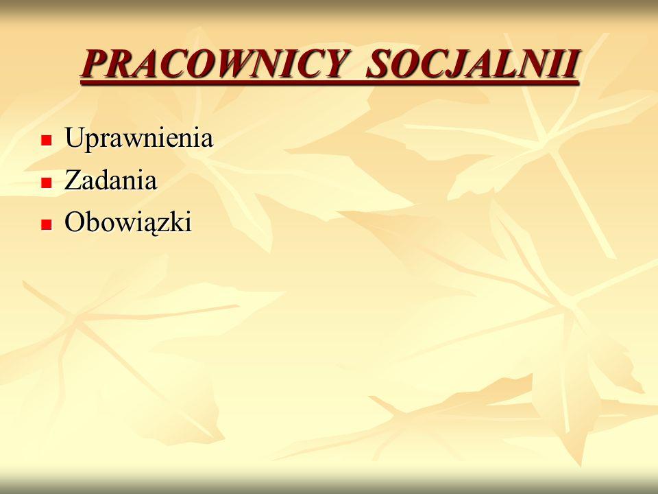UPRAWNIENIA Art.116 Pracownikiem socjalnym może być osoba, która spełnia co najmniej jeden z niżej wymienionych warunków: Pracownikiem socjalnym może być osoba, która spełnia co najmniej jeden z niżej wymienionych warunków: 1) posiada dyplom ukończenia kolegium pracowników służb społecznych 2) ukończyła studia wyższe na kierunku praca socjalna 3) do dnia 31 grudnia 2013 r.
