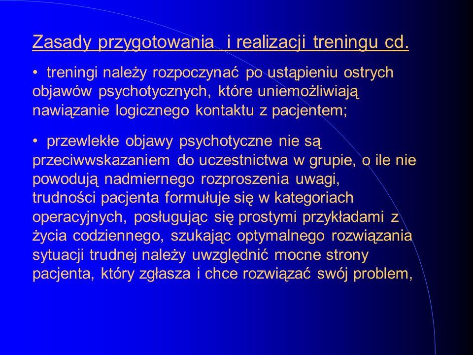 Zasady przygotowania i realizacji treningu cd. treningi należy rozpoczynać po ustąpieniu ostrych objawów psychotycznych, które uniemożliwiają nawiązan