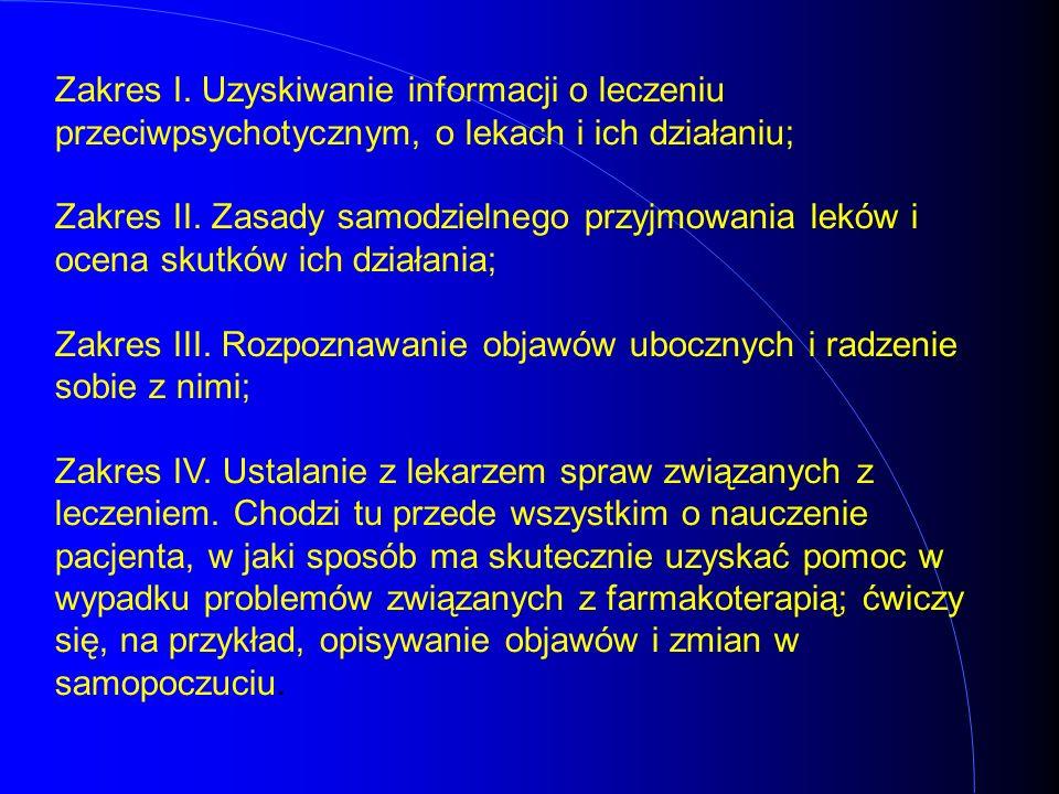 Zakres I. Uzyskiwanie informacji o leczeniu przeciwpsychotycznym, o lekach i ich działaniu; Zakres II. Zasady samodzielnego przyjmowania leków i ocena
