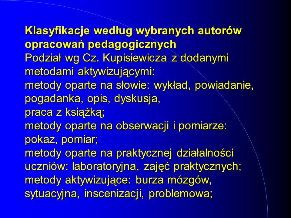 Klasyfikacje według wybranych autorów opracowań pedagogicznych Podział wg Cz. Kupisiewicza z dodanymi metodami aktywizującymi: metody oparte na słowie