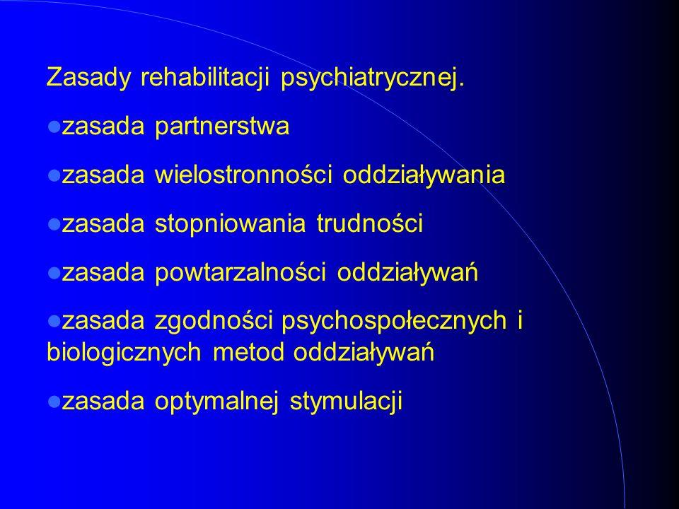 Zasady rehabilitacji psychiatrycznej. zasada partnerstwa zasada wielostronności oddziaływania zasada stopniowania trudności zasada powtarzalności oddz