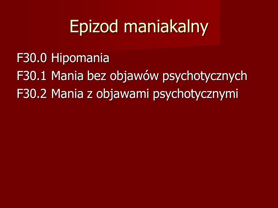 Epizod maniakalny F30.0 Hipomania F30.1 Mania bez objawów psychotycznych F30.2 Mania z objawami psychotycznymi