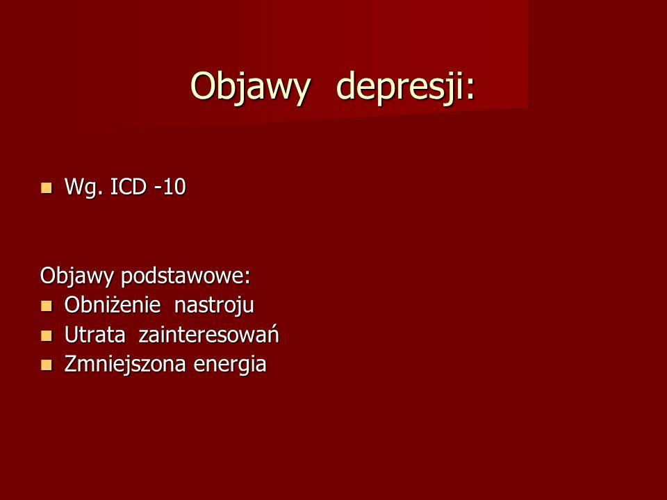 Objawy depresji: Wg. ICD -10 Wg. ICD -10 Objawy podstawowe: Obniżenie nastroju Obniżenie nastroju Utrata zainteresowań Utrata zainteresowań Zmniejszon
