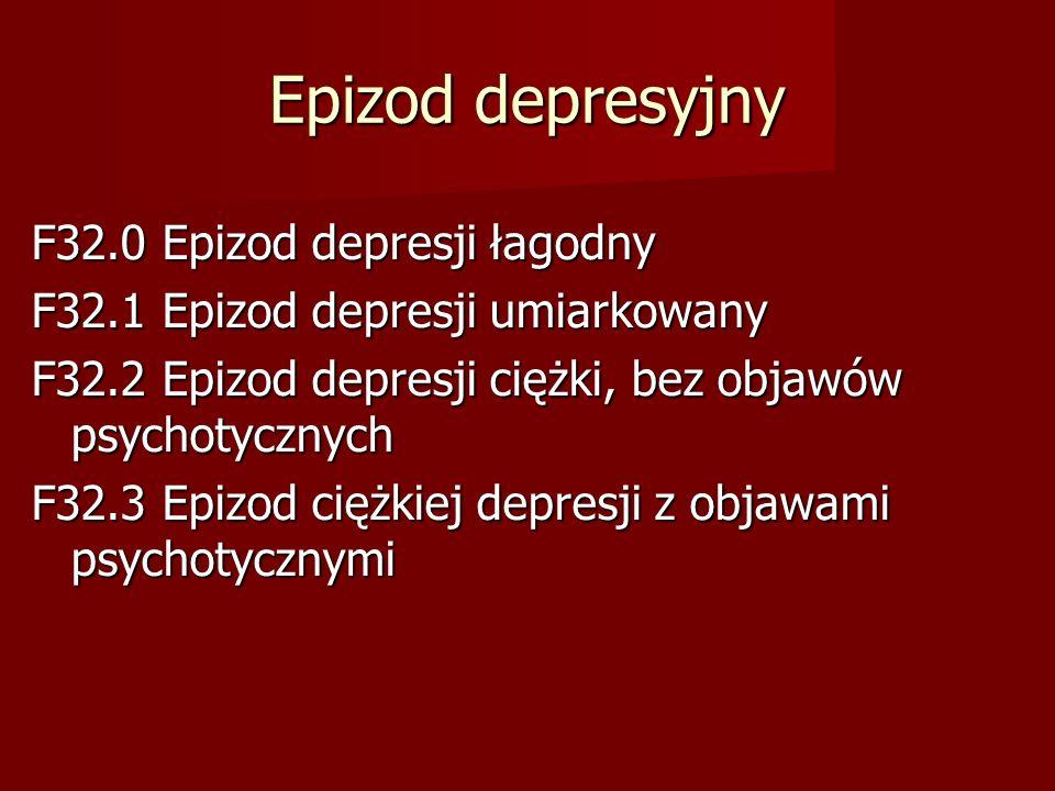 Epizod depresyjny F32.0 Epizod depresji łagodny F32.1 Epizod depresji umiarkowany F32.2 Epizod depresji ciężki, bez objawów psychotycznych F32.3 Epizo