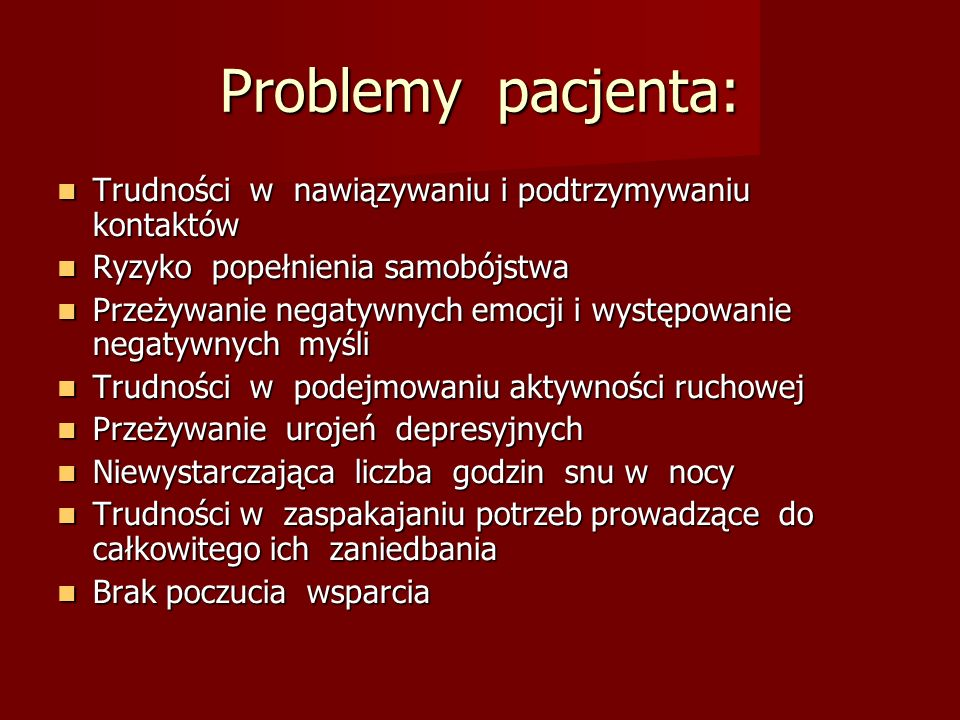 Problemy pacjenta: Trudności w nawiązywaniu i podtrzymywaniu kontaktów Trudności w nawiązywaniu i podtrzymywaniu kontaktów Ryzyko popełnienia samobójs