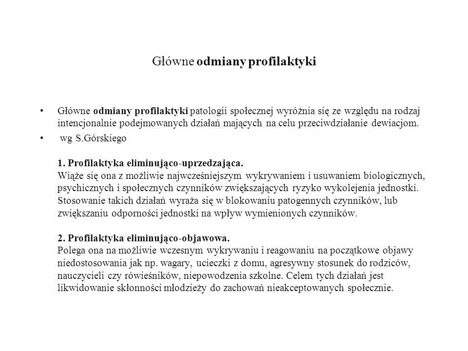 Główne odmiany profilaktyki c.d.3. Profilaktyka powstrzymująca.