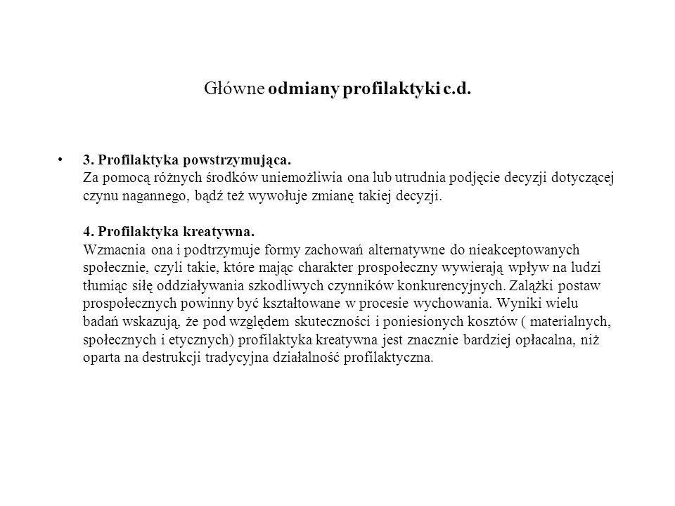 Główne odmiany profilaktyki c.d. 3. Profilaktyka powstrzymująca. Za pomocą różnych środków uniemożliwia ona lub utrudnia podjęcie decyzji dotyczącej c