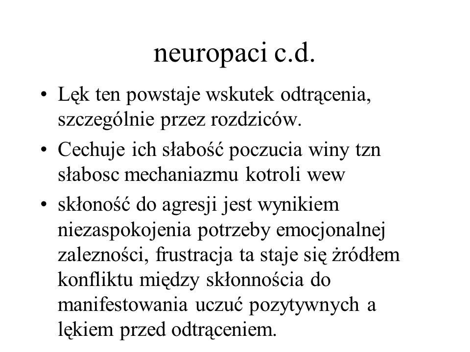 neuropaci c.d. Lęk ten powstaje wskutek odtrącenia, szczególnie przez rozdziców. Cechuje ich słabość poczucia winy tzn słabosc mechaniazmu kotroli wew