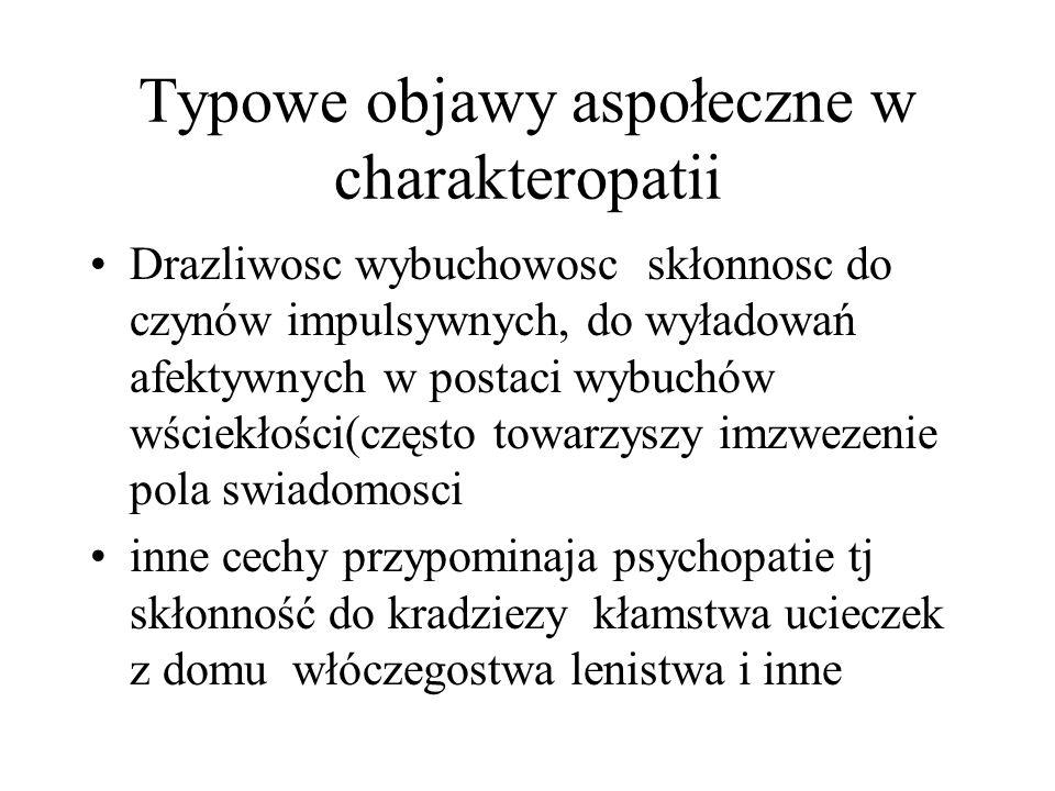Typowe objawy aspołeczne w charakteropatii Drazliwosc wybuchowosc skłonnosc do czynów impulsywnych, do wyładowań afektywnych w postaci wybuchów wściek