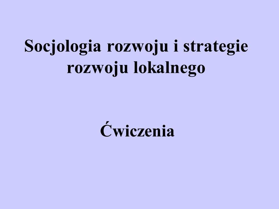 Socjologia rozwoju i strategie rozwoju lokalnego Ćwiczenia