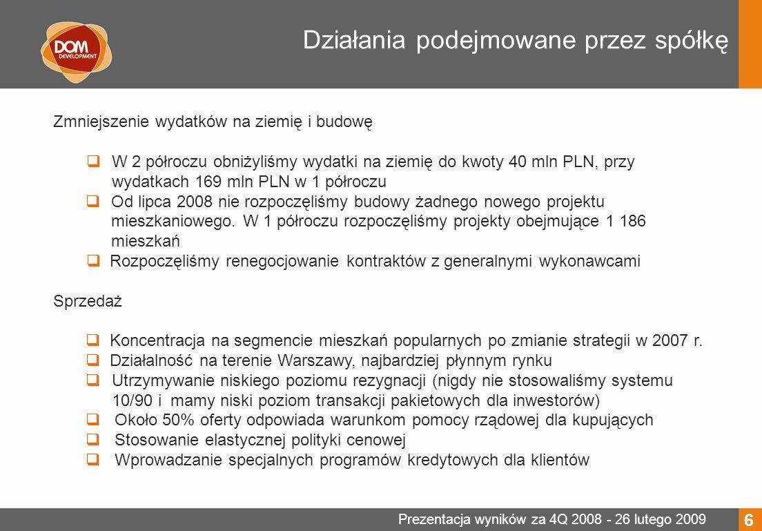 Prezentacja wyników za 4Q 2008 - 26 lutego 2009 Zadłużenie odsetkowe według terminów zapadalności (mln PLN) 7 Gotówka na dzień 31/12/2008 – 224 mln PLN