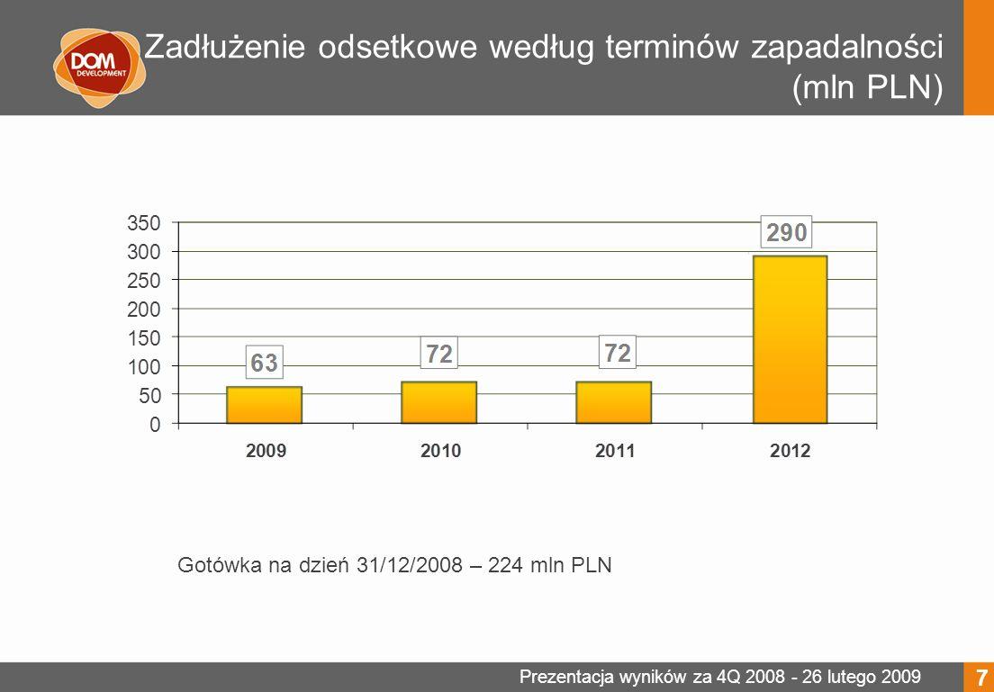 Prezentacja wyników za 4Q 2008 - 26 lutego 2009 Inwestycje wprowadzane do sprzedaży 8 Liczba mieszkań