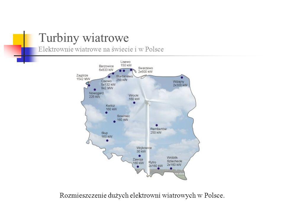 Turbiny wiatrowe Elektrownie wiatrowe na świecie i w Polsce Rozmieszczenie dużych elektrowni wiatrowych w Polsce.