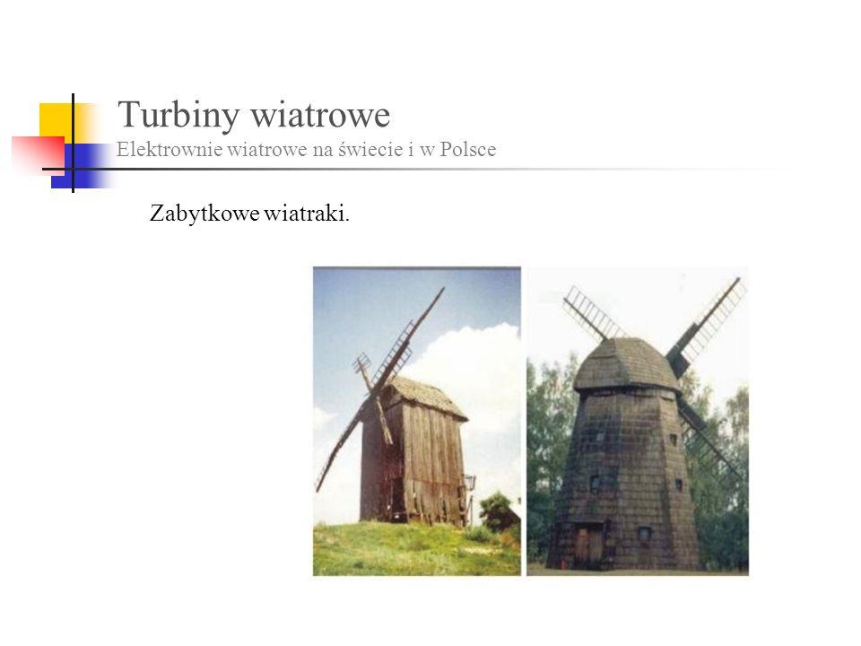 Turbiny wiatrowe Elektrownie wiatrowe na świecie i w Polsce Zabytkowe wiatraki.