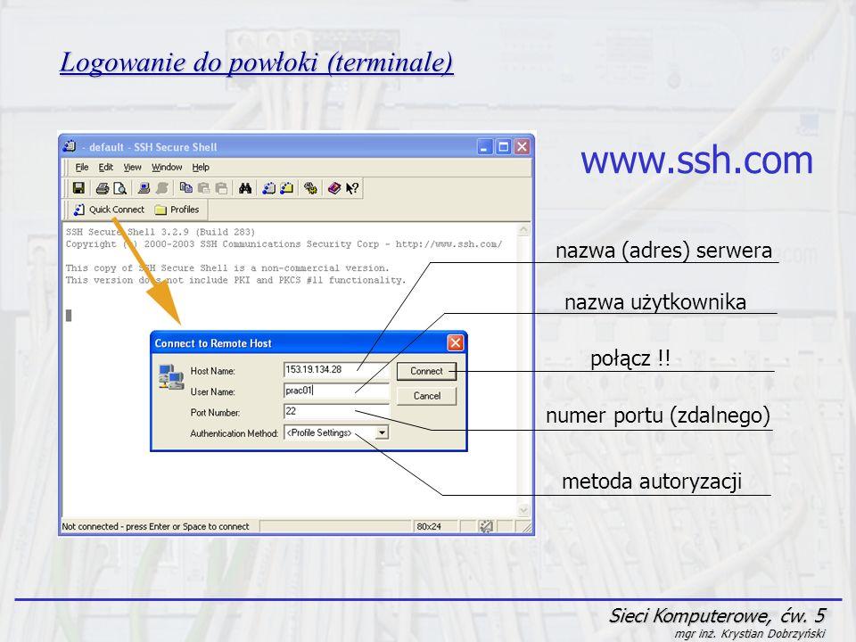 Sieci Komputerowe, ćw. 5 mgr inż. Krystian Dobrzyński Logowanie do powłoki (terminale) nazwa (adres) serwera nazwa użytkownika połącz !! numer portu (