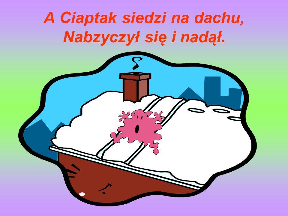 A Ciaptak siedzi na dachu, Nabzyczył się i nadął.