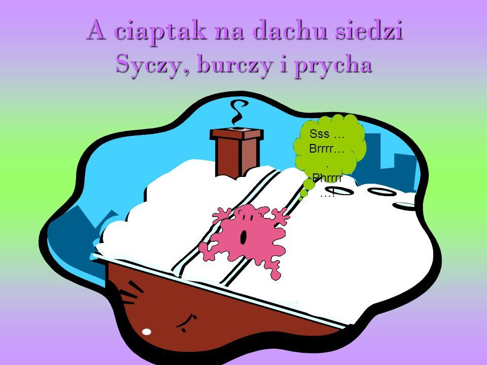 A ciaptak na dachu siedzi Syczy, burczy i prycha Sss … Brrrr…. Phrrrr …!