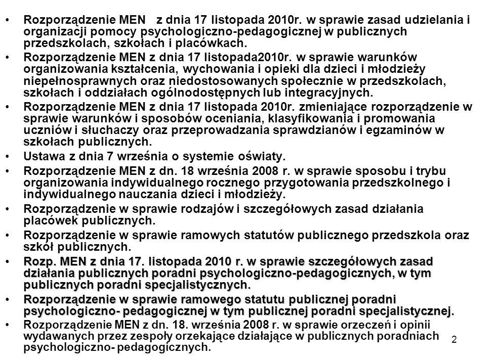 2 Rozporządzenie MEN z dnia 17 listopada 2010r. w sprawie zasad udzielania i organizacji pomocy psychologiczno-pedagogicznej w publicznych przedszkola