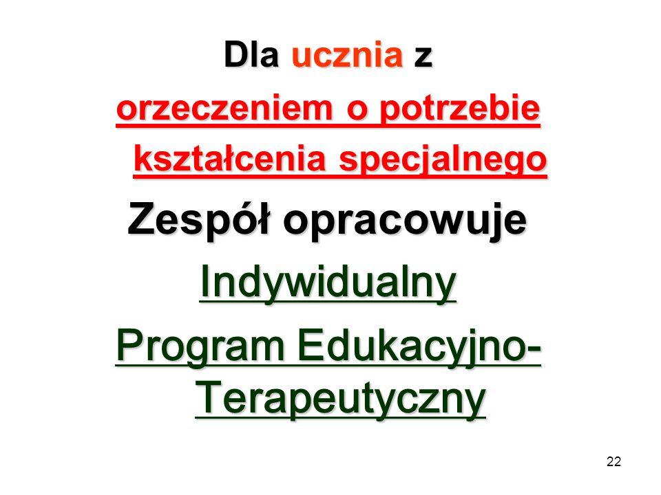 22 Dla ucznia z orzeczeniem o potrzebie kształcenia specjalnego Zespół opracowuje Indywidualny Program Edukacyjno- Terapeutyczny