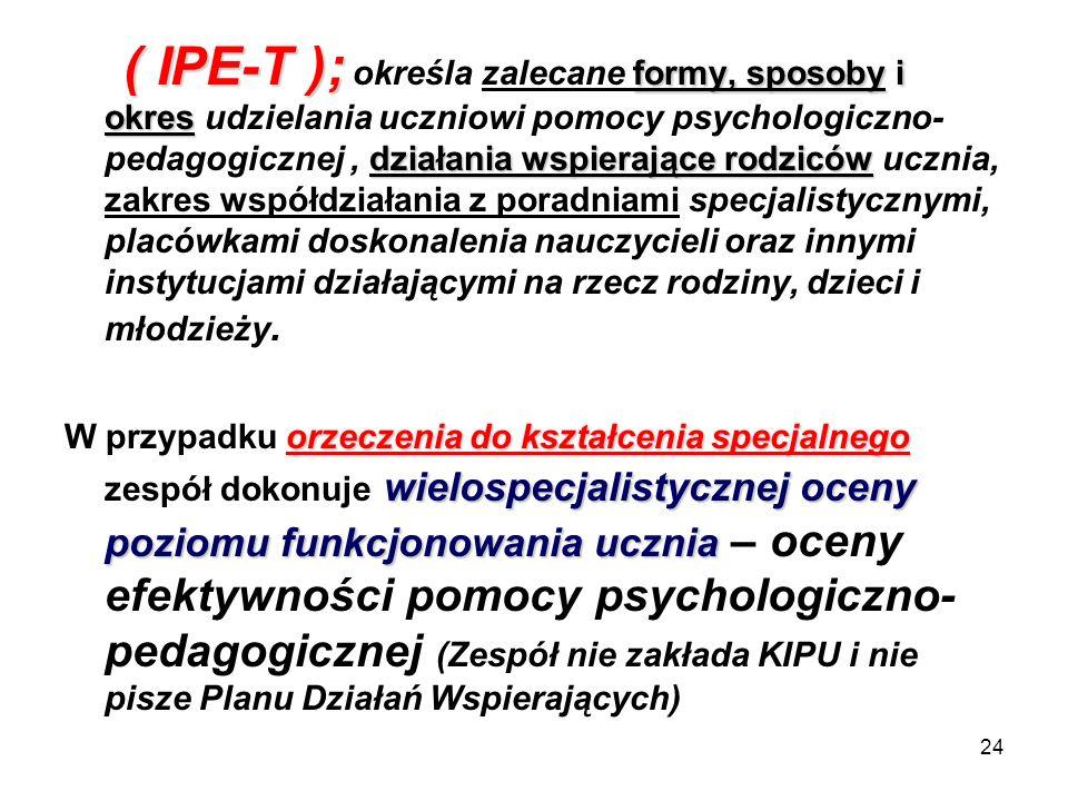 24 ( IPE-T ); formy, sposoby i okres działania wspierające rodziców ( IPE-T ); określa zalecane formy, sposoby i okres udzielania uczniowi pomocy psyc