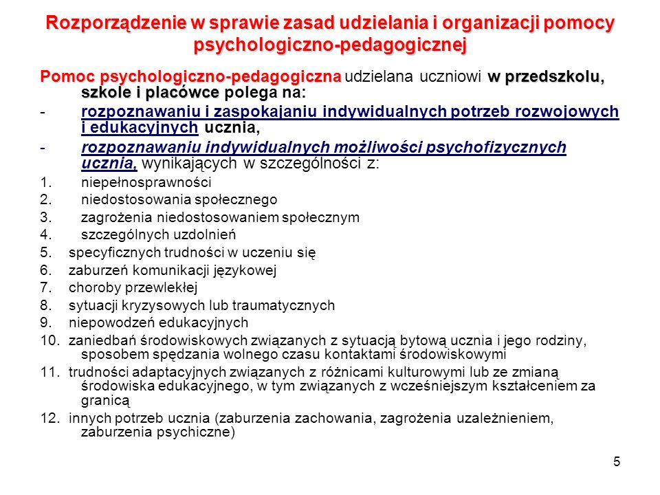 5 Rozporządzenie w sprawie zasad udzielania i organizacji pomocy psychologiczno-pedagogicznej Pomoc psychologiczno-pedagogicznaw przedszkolu, szkole i