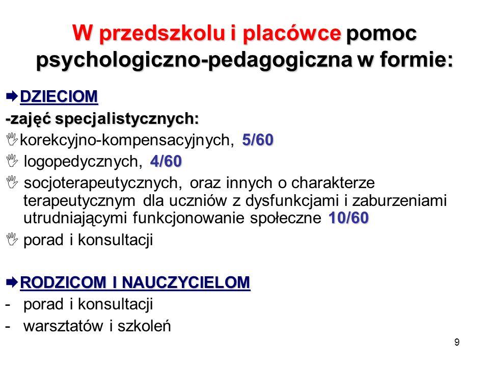 9 W przedszkolu i placówce pomoc psychologiczno-pedagogiczna w formie: DZIECIOM -zajęć specjalistycznych: 5/60 korekcyjno-kompensacyjnych, 5/60 4/60 l