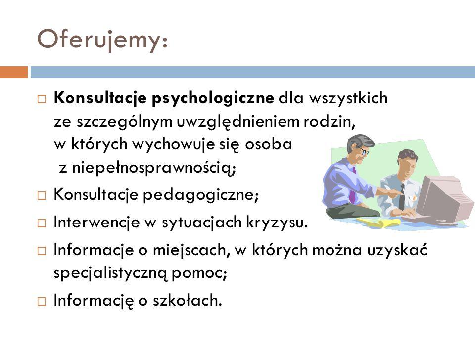 Oferujemy: Konsultacje psychologiczne dla wszystkich ze szczególnym uwzględnieniem rodzin, w których wychowuje się osoba z niepełnosprawnością; Konsultacje pedagogiczne; Interwencje w sytuacjach kryzysu.