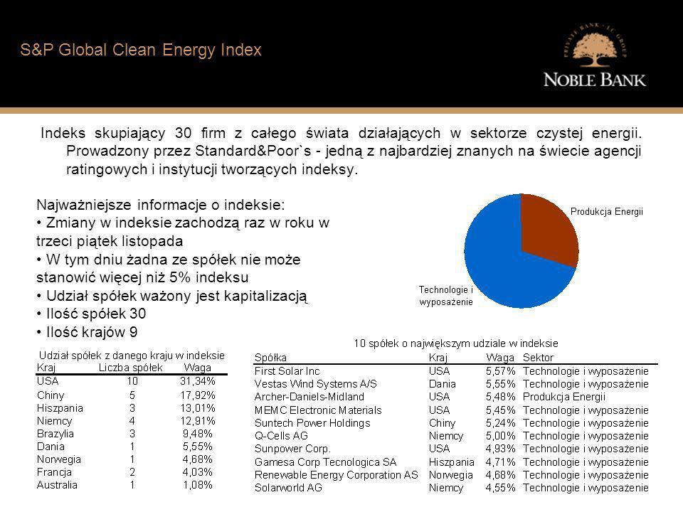 Jak wygląda sytuacja finansowa typowego Polaka? S&P Global Clean Energy Index Indeks skupiający 30 firm z całego świata działających w sektorze czyste