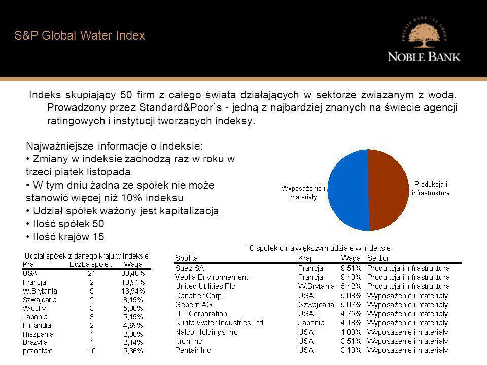 Jak wygląda sytuacja finansowa typowego Polaka? S&P Global Water Index Indeks skupiający 50 firm z całego świata działających w sektorze związanym z w