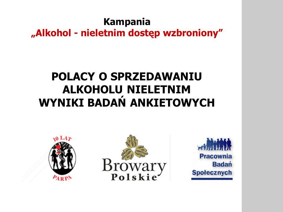 POLACY O SPRZEDAWANIU ALKOHOLU NIELETNIM WYNIKI BADAŃ ANKIETOWYCH Kampania Alkohol - nieletnim dostęp wzbroniony