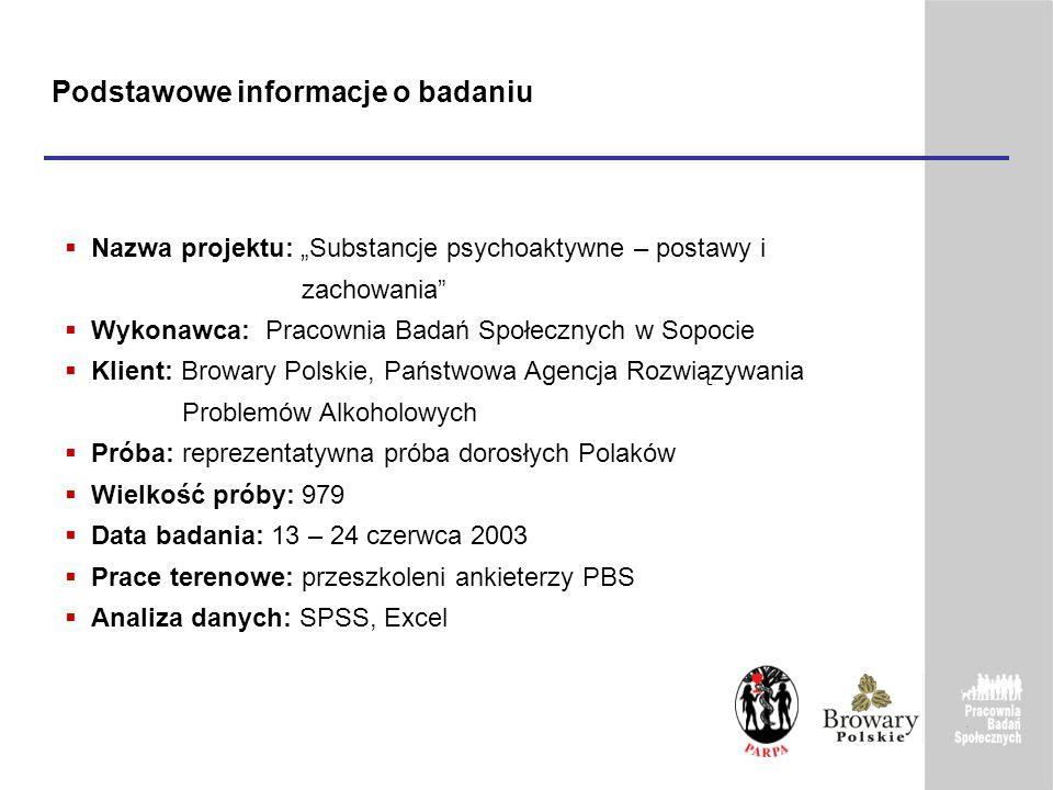 Podstawowe informacje o badaniu Nazwa projektu: Substancje psychoaktywne – postawy i zachowania Wykonawca: Pracownia Badań Społecznych w Sopocie Klien