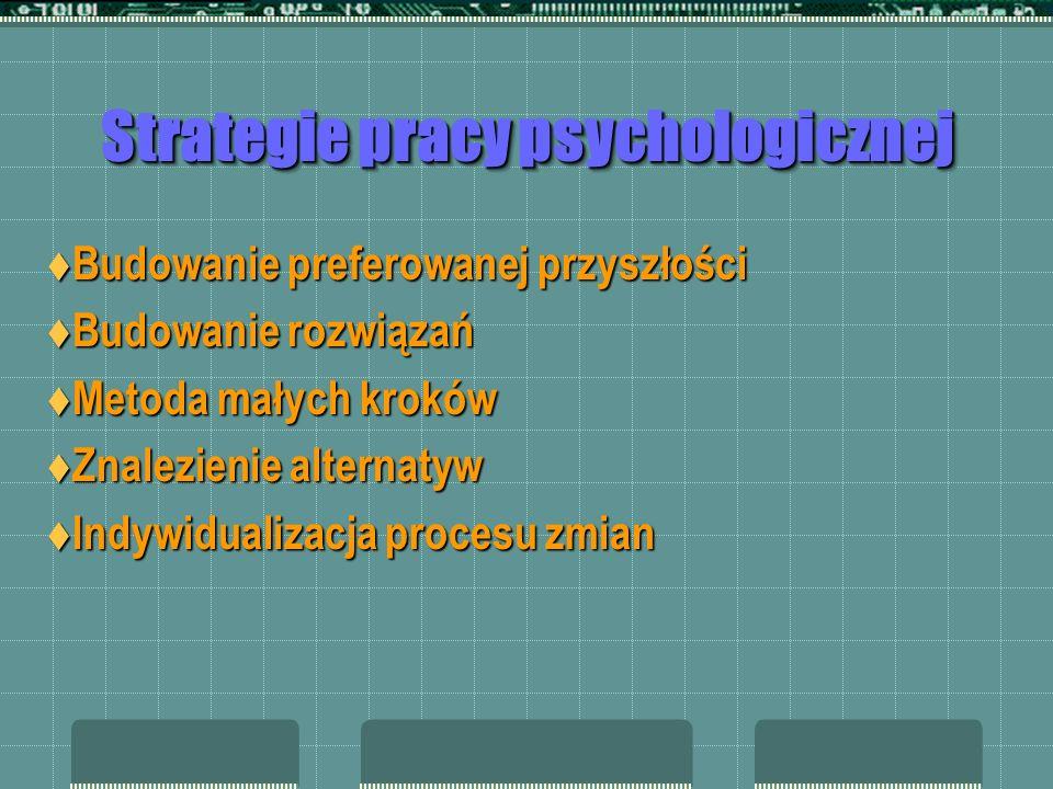 Strategie pracy psychologicznej Odróżnienie interwencji od działania terapeutycznego Odróżnienie interwencji od działania terapeutycznego Przerwanie ł