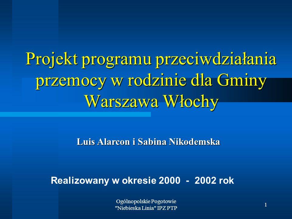 Ogólnopolskie Pogotowie Niebieska Linia IPZ PTP 1 Projekt programu przeciwdziałania przemocy w rodzinie dla Gminy Warszawa Włochy Realizowany w okresie 2000 - 2002 rok Luis Alarcon i Sabina Nikodemska