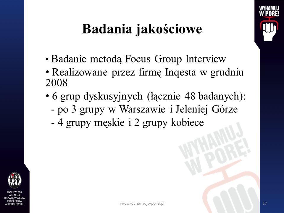 www.wyhamujwpore.pl17 Badania jakościowe Badanie metodą Focus Group Interview Realizowane przez firmę Inqesta w grudniu 2008 6 grup dyskusyjnych (łącz