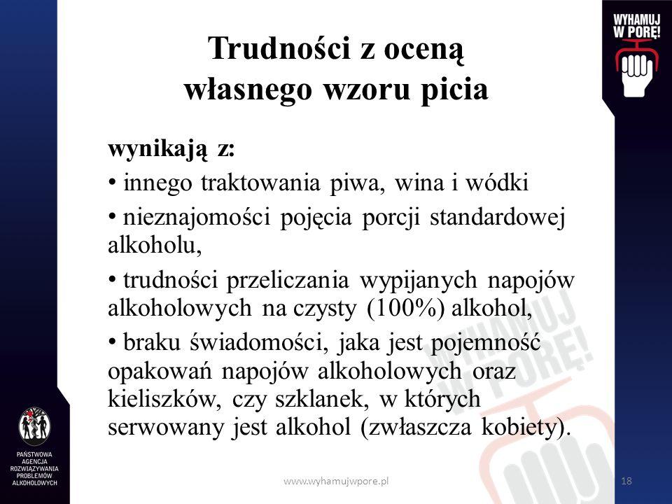 www.wyhamujwpore.pl18 Trudności z oceną własnego wzoru picia wynikają z: innego traktowania piwa, wina i wódki nieznajomości pojęcia porcji standardow
