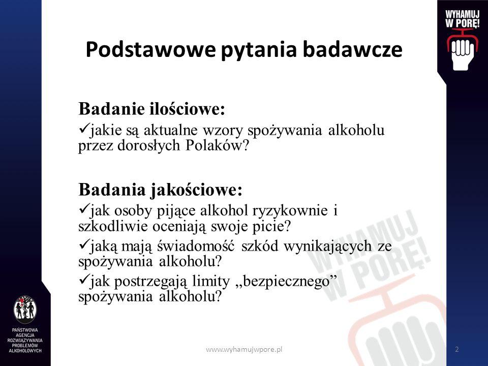 www.wyhamujwpore.pl2 Podstawowe pytania badawcze Badanie ilościowe: jakie są aktualne wzory spożywania alkoholu przez dorosłych Polaków? Badania jakoś