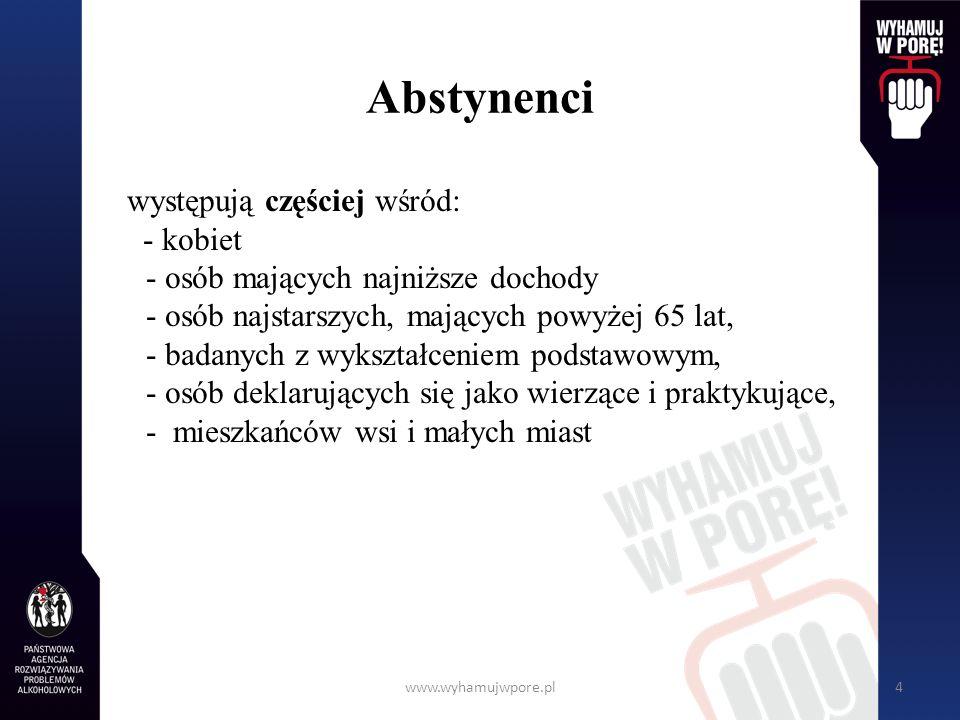 www.wyhamujwpore.pl4 Abstynenci występują częściej wśród: - kobiet - osób mających najniższe dochody - osób najstarszych, mających powyżej 65 lat, - b