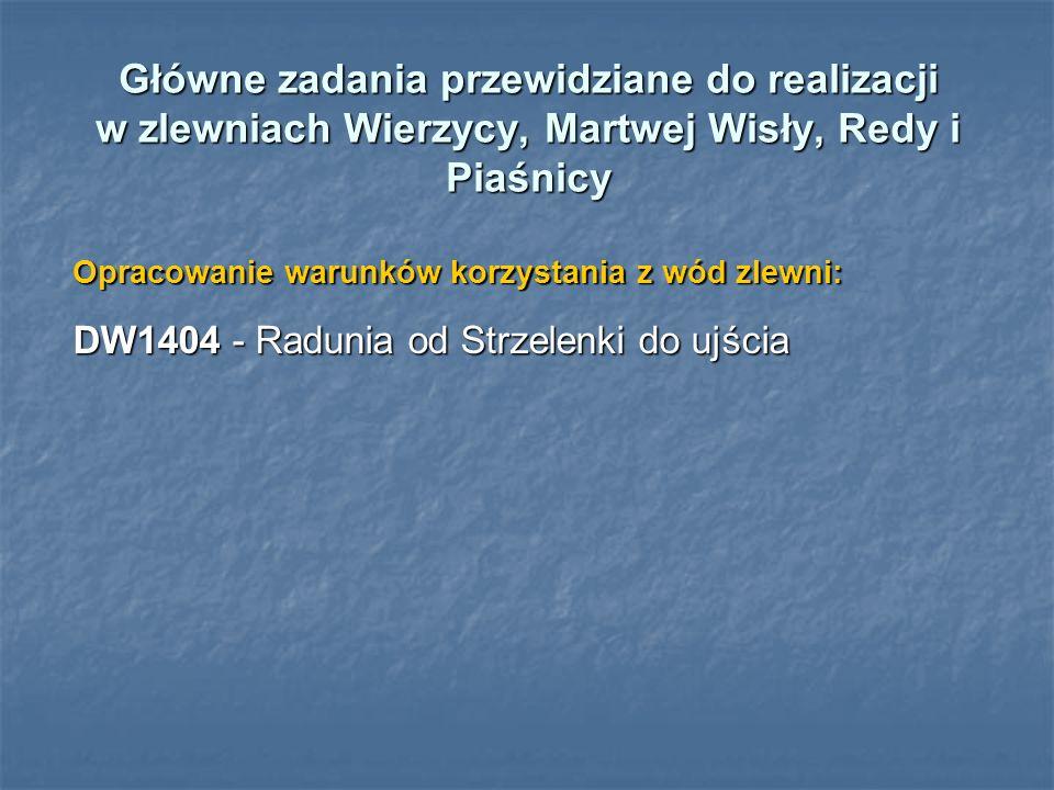 Główne zadania przewidziane do realizacji w zlewniach Wierzycy, Martwej Wisły, Redy i Piaśnicy Opracowanie warunków korzystania z wód zlewni: DW1404 -