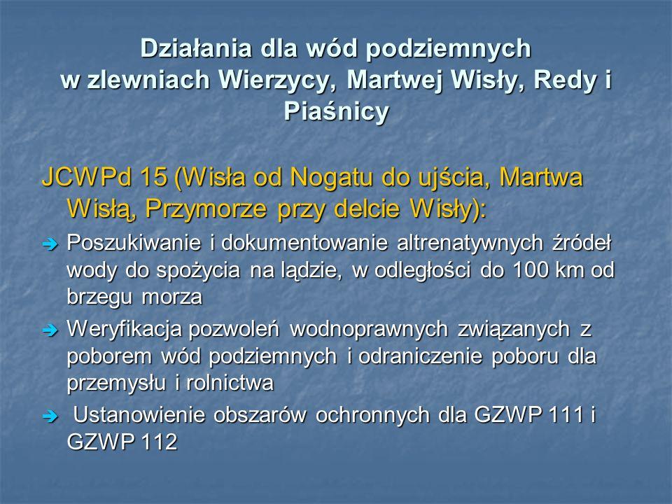 Działania dla wód podziemnych w zlewniach Wierzycy, Martwej Wisły, Redy i Piaśnicy JCWPd 15 (Wisła od Nogatu do ujścia, Martwa Wisłą, Przymorze przy d