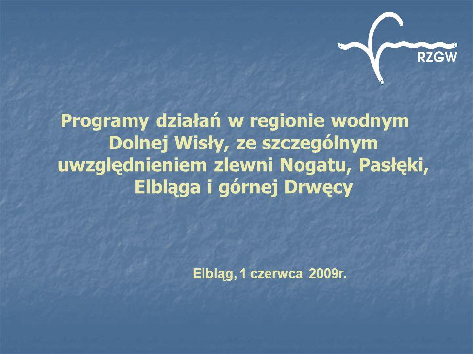 Programy działań w regionie wodnym Dolnej Wisły, ze szczególnym uwzględnieniem zlewni Nogatu, Pasłęki, Elbląga i górnej Drwęcy Elbląg, 1 czerwca 2009r.