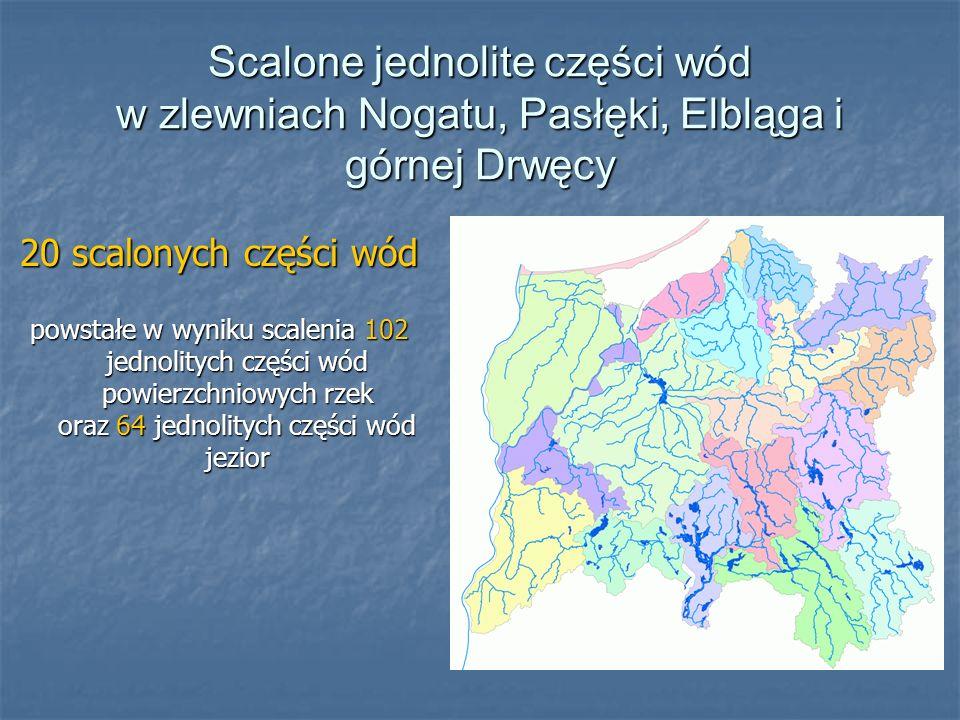 Scalone jednolite części wód w zlewniach Nogatu, Pasłęki, Elbląga i górnej Drwęcy 20 scalonych części wód powstałe w wyniku scalenia 102 jednolitych części wód powierzchniowych rzek oraz 64 jednolitych części wód jezior