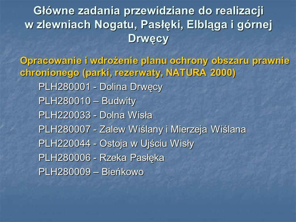 Główne zadania przewidziane do realizacji w zlewniach Nogatu, Pasłęki, Elbląga i górnej Drwęcy Opracowanie i wdrożenie planu ochrony obszaru prawnie chronionego (parki, rezerwaty, NATURA 2000) Opracowanie i wdrożenie planu ochrony obszaru prawnie chronionego (parki, rezerwaty, NATURA 2000) PLH280001 - Dolina Drwęcy PLH280010 – Budwity PLH220033 - Dolna Wisła PLH280007 - Zalew Wiślany i Mierzeja Wiślana PLH220044 - Ostoja w Ujściu Wisły PLH280006 - Rzeka Pasłęka PLH280009 – Bieńkowo